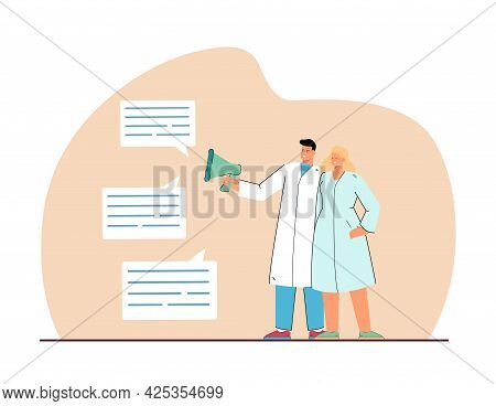 Male And Female Doctors Reading Positive Reviews From Patients. Happy Couple In Medical Overall Flat