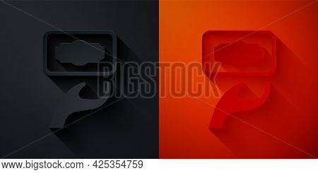 Paper Cut Donation And Charity Icon Isolated On Black And Red Background. Donate Money And Charity C