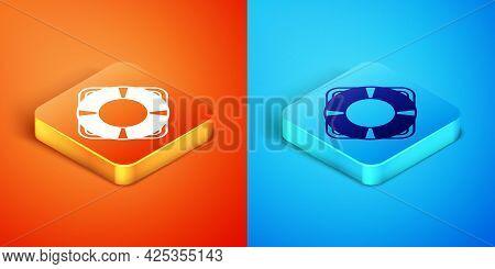 Isometric Lifebuoy Icon Isolated On Orange And Blue Background. Lifebelt Symbol. Vector