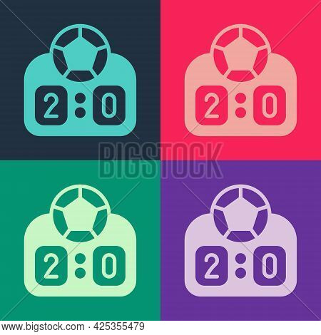 Pop Art Sport Mechanical Scoreboard And Result Display Icon Isolated On Color Background. Vector
