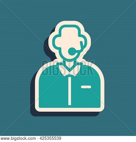 Green Football Or Soccer Commentator Icon Isolated On Green Background. Long Shadow Style. Vector