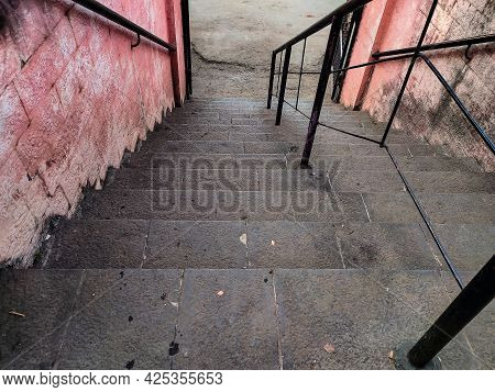 Stock Photo Of Ancient Staircase Made By Gray Color Stone In The Old Hindu Temple At Kolhapur Mahara