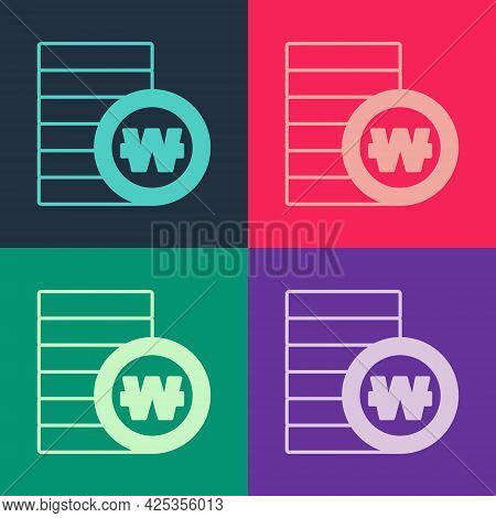 Pop Art South Korean Won Coin Icon Isolated On Color Background. South Korea Currency Business, Paym