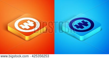 Isometric South Korean Won Coin Icon Isolated On Orange And Blue Background. South Korea Currency Bu