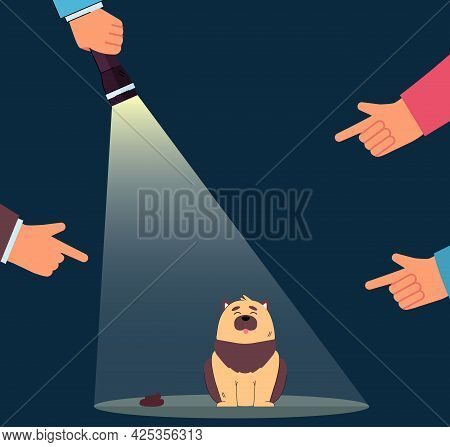 Fingers Pointing At Guilty Dog Flat Vector Illustration. Beam Of Flashlight Aimed At Pet Making A Me