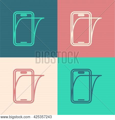 Pop Art Line Glass Screen Protector For Smartphone Icon Isolated On Color Background. Protective Fil
