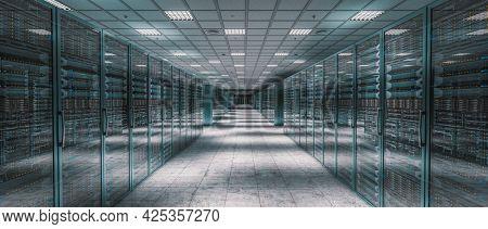 internal image of a server room. 3d render.