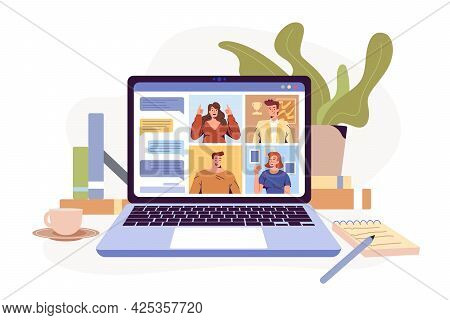 Video Conference Remote Working Flat Illustration. Screen Laptop With Group Of Colleagues, People Co