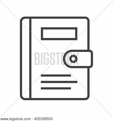 Booklet Page Icon Vector In Thin Line Style. Outline Symbol For Reference, Paper, Documents.