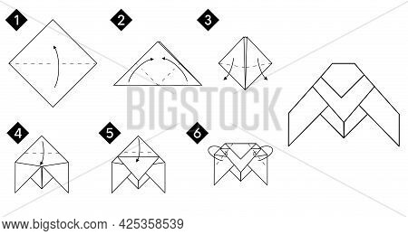 Step By Step How To Make Origami Cicada. Vector Monochrome Instructions Illustration. Black And Whit