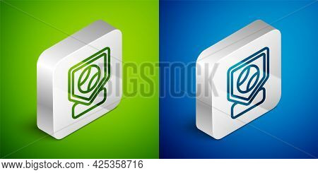 Isometric Line Baseball Base Icon Isolated On Green And Blue Background. Silver Square Button. Vecto