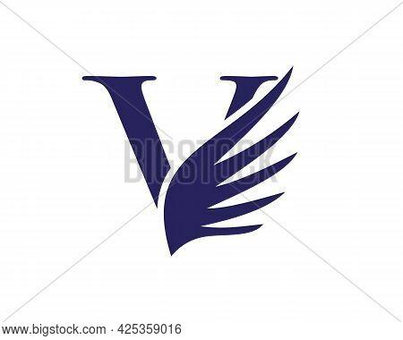 Wing Logo With V Letter Concept. V Letter Logo With Wing