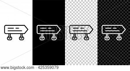 Set Line Road Traffic Sign. Signpost Icon Isolated On Black And White, Transparent Background. Point