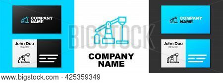 Blue Line Oil Pump Or Pump Jack Icon Isolated On White Background. Oil Rig. Logo Design Template Ele