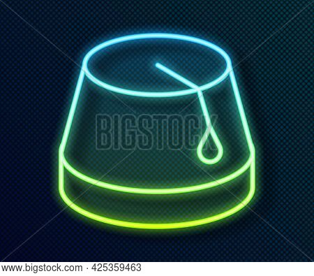 Glowing Neon Line Turkish Hat Icon Isolated On Black Background. Vector