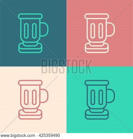 Pop Art Line Medieval Goblet Icon Isolated On Color Background. Vector