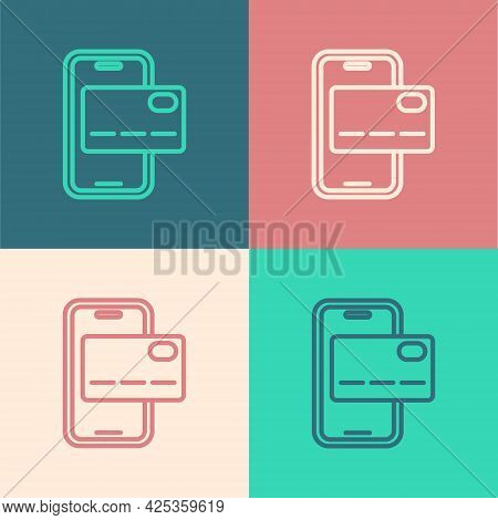 Pop Art Line Mobile Banking Icon Isolated On Color Background. Transfer Money Through Mobile Banking