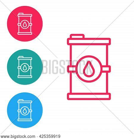 Red Line Bio Fuel Barrel Icon Isolated On White Background. Eco Bio And Canister. Green Environment
