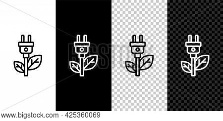 Set Line Electric Saving Plug In Leaf Icon Isolated On Black And White, Transparent Background. Save