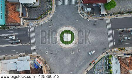 Aerial View Of The Tugu Jogja Or Known As Tugu Pal Is The Iconic Landmark Of Yogyakarta. Central Jav