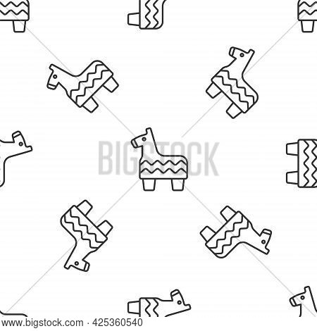 Grey Line Pinata Icon Isolated Seamless Pattern On White Background. Mexican Traditional Birthday To