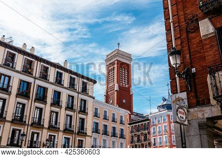 Madrid, Spain - May 8, 2021: Square Of Santa Cruz In Historical Centre Of Madrid.