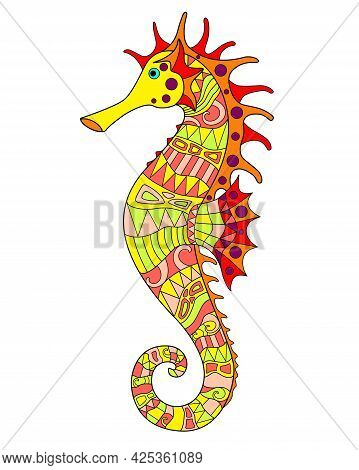 Seahorse - Vector Linear Full Color Zentangle Illustration - With Sea Animal Living In The Ocean. Te