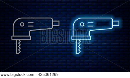 Glowing Neon Line Electric Jigsaw With Steel Sharp Blade Icon Isolated On Brick Wall Background. Pow