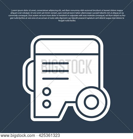 Blue Line Portable Power Electric Generator Icon Isolated On Blue Background. Industrial And Home Im