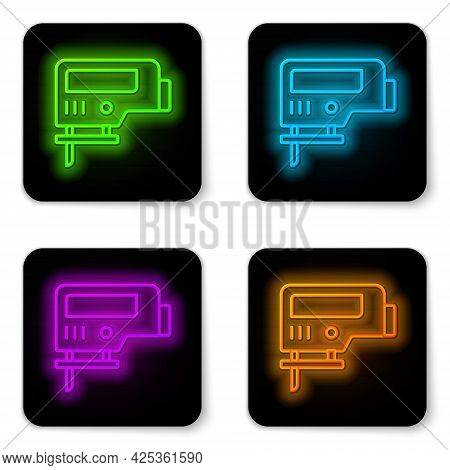 Glowing Neon Line Electric Jigsaw With Steel Sharp Blade Icon Isolated On White Background. Power To