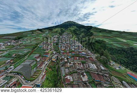 Aerial View Of The Nepal Van Java Is A Rural Tour On The Slopes Of Mount Sumbing, The Beauty Of Buil