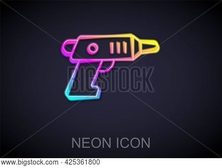 Glowing Neon Line Electric Cordless Screwdriver Icon Isolated On Black Background. Electric Drill Ma