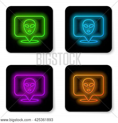 Glowing Neon Line Alien Icon Isolated On White Background. Extraterrestrial Alien Face Or Head Symbo