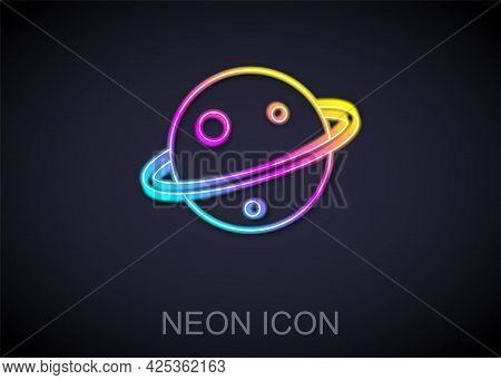 Glowing Neon Line Planet Saturn With Planetary Ring System Icon Isolated On Black Background. Vector