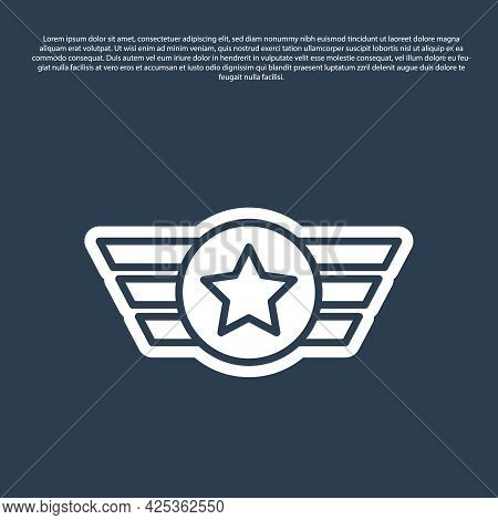 Blue Line Star American Military Icon Isolated On Blue Background. Military Badges. Army Patches. Ve