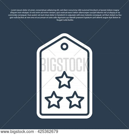 Blue Line Military Rank Icon Isolated On Blue Background. Military Badge Sign. Vector