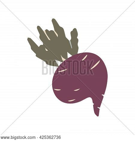 Burgundy Beetroot In A Cartoon Style For Decorating Notebooks And Printing Stickers.