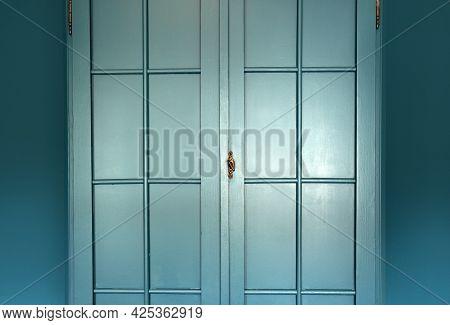 Cyan Blue Wall With Cupboard Stylish Interior,modern Blue Cupboard Door Background Texture Beautiful