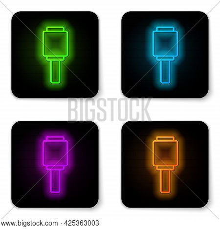 Glowing Neon Line Rkg 3 Anti-tank Hand Grenade Icon Isolated On White Background. Black Square Butto