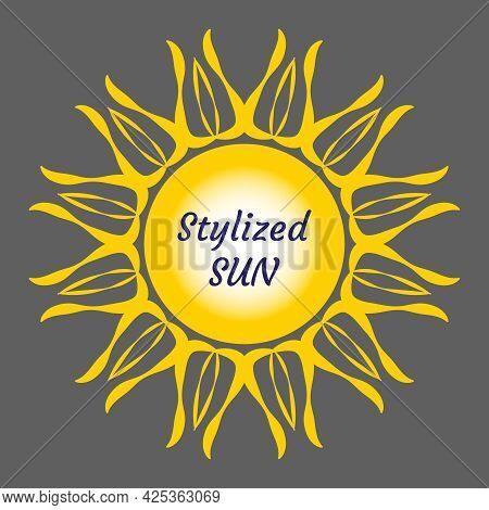 Stylized Sun Logo. Beautiful Vector Design Yellow Sun On Grey. Bright Sun Rays Sunburst Sunbeams As