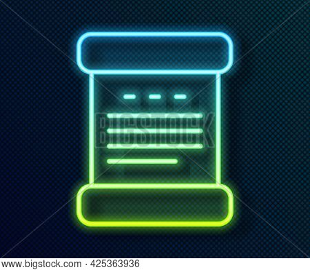Glowing Neon Line Declaration Of Independence Icon Isolated On Black Background. Vector