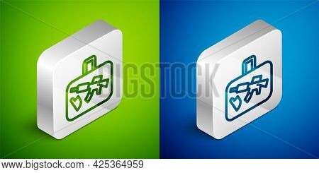 Isometric Line Suitcase For Travel Icon Isolated On Green And Blue Background. Traveling Baggage Sig
