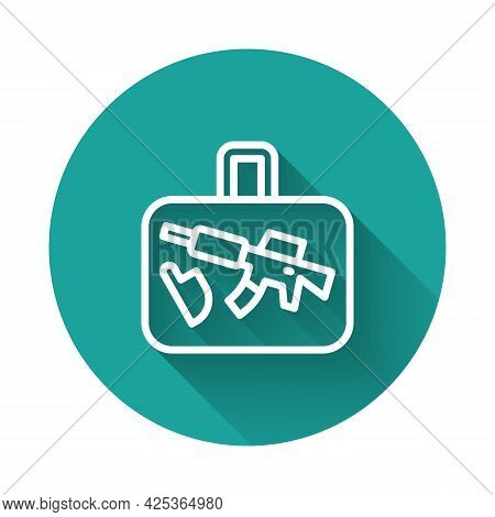 White Line Suitcase For Travel Icon Isolated With Long Shadow Background. Traveling Baggage Sign. Tr