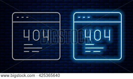 Glowing Neon Line Page With A 404 Error Icon Isolated On Brick Wall Background. Template Reports Tha