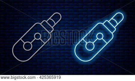 Glowing Neon Line Electronic Cigarette Icon Isolated On Brick Wall Background. Vape Smoking Tool. Va