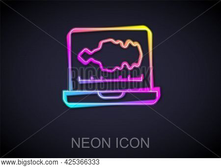 Glowing Neon Line Sound Or Audio Recorder Or Editor Software On Laptop Icon Isolated On Black Backgr