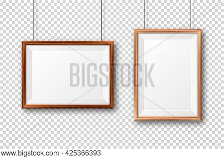 Realistic Wooden Picture Frames With Shadow On Checkered Background. Hanging On A Wall Blank Poster