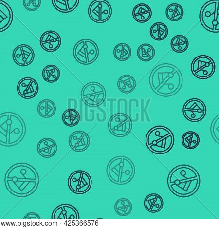 Black Line Speaker Mute Icon Isolated Seamless Pattern On Green Background. No Sound Icon. Volume Of