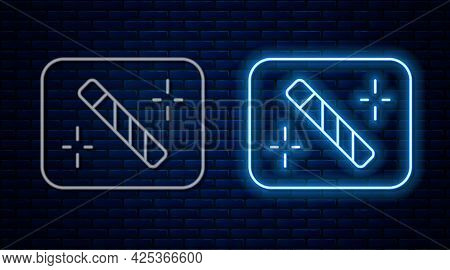 Glowing Neon Line Photo Retouching Icon Isolated On Brick Wall Background. Photographer, Photography