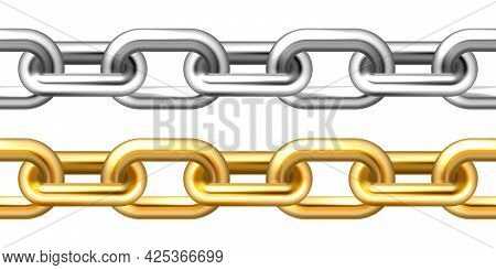 Realistic Seamless Golden And Silver Chains Isolated On White Background. Metal Chain With Shiny Gol